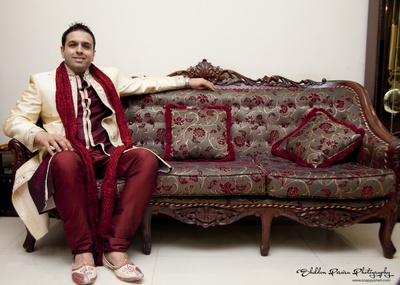 Double jacket styled maroon and cream sherwani with crushed dupatta and jooti's