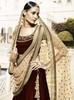 Variation Maroon Velvet Designer Ghaghra Choli image