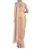 Gold peach draped pants saree image