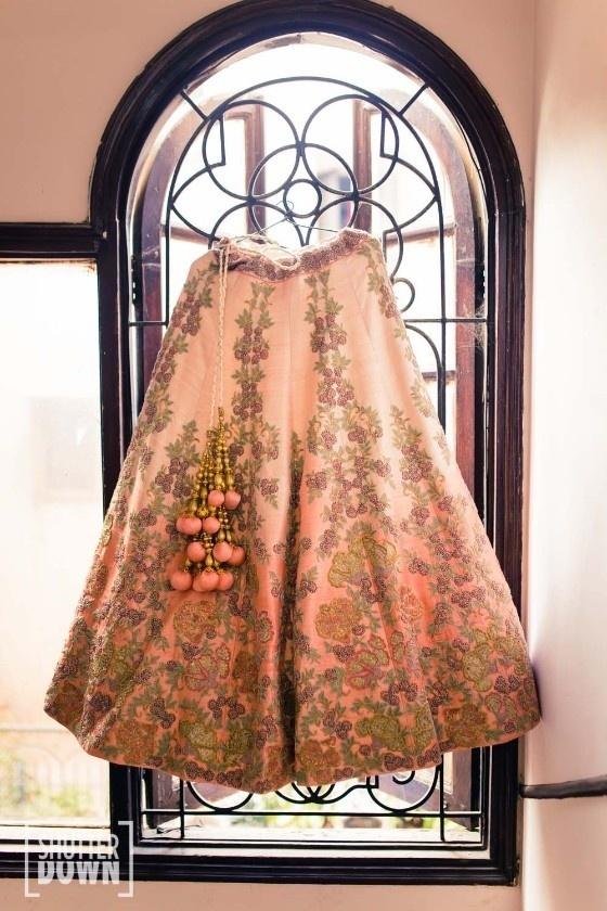 6) Pastel lehenga with embroidery