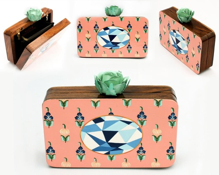 Classy Mint hand painted wooden box clutch