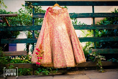 Khushi's shiny pink lehenga