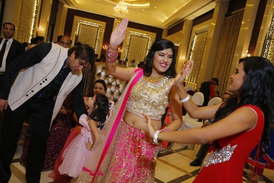 Shimmering gold and pink lehenga designs