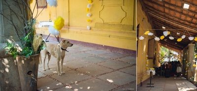 Rustic Goa house decorated with paper flower strings in color coordinated theme of white and yellow