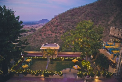 Swanky Neemrana Fort Palace shinning brightly with fairy lights