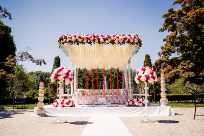 white and pink floral mandap decor