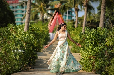 the bride twirling in a breezy lehenga at her welcome party