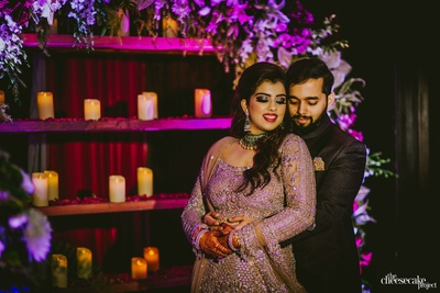 romanitc picture of the couple at the sangeet