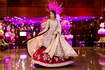 twirling bride in her engagement outfit