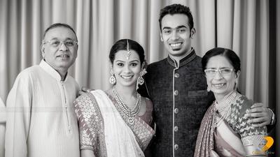 Monochrome family portrait with minimal jewellery