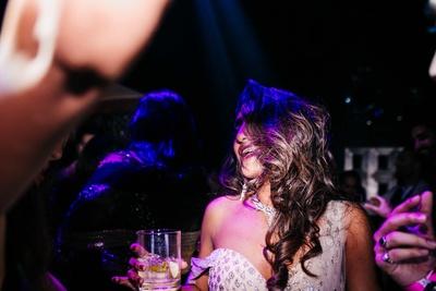 the bride enjoying herself at her sangeet