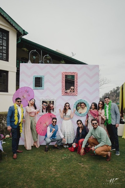happy picture of the bride with her friends at the pre wedding brunch at The Savoy, Mussoorie
