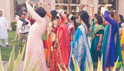 Bride entering the wedding venue.