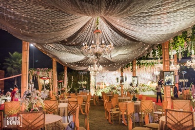 Table decor and seating arrangement at Hotel Renaissance, Lucknow for the wedding