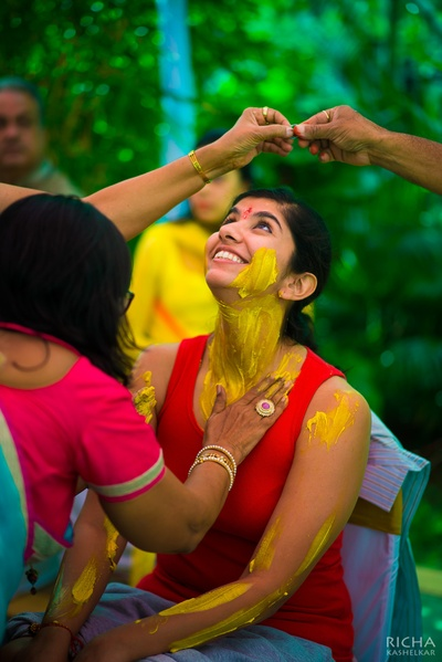 Being painted in yellow