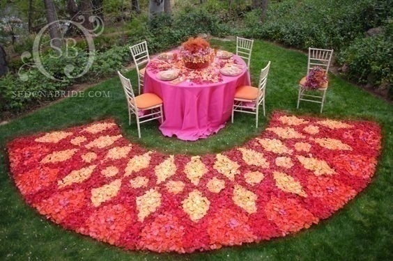 Floral Rangoli Designs for Indian Wedding Decoration!