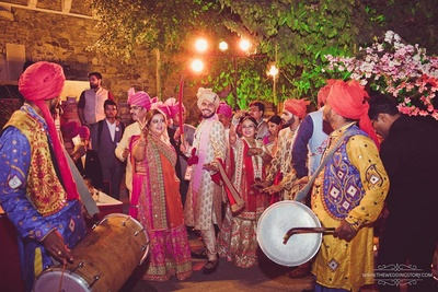Baraat dance with friends and family