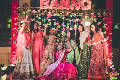 candid shot of the bride with her tribe
