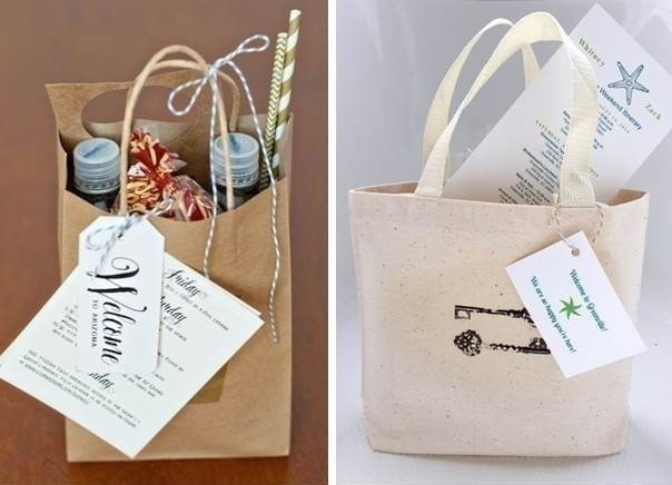 3.Multi-purpose gifting. Example: Gift bags given along with the wedding itinerary.