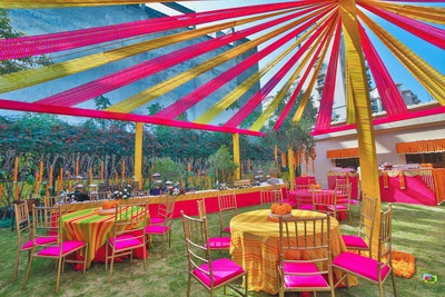 Lawn decor for the mehndi ceremony at a private farmhouse in Chattarpur