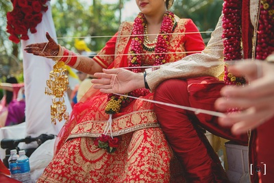Traditional Indian ceremonies being performed during the wedding