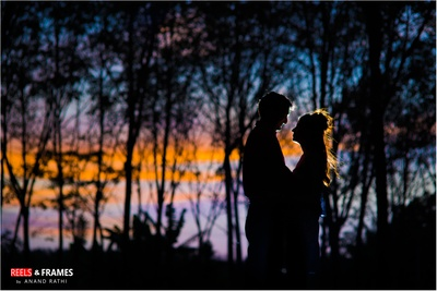 Lovely shadow image of the bride and the groom beautifully captured by Reels and Frames