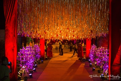 Qawwali night entrance decorated with shimmer decorations