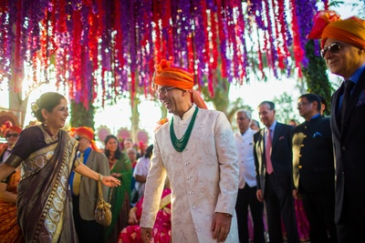 Groom's entry to the grand wedding ceremony