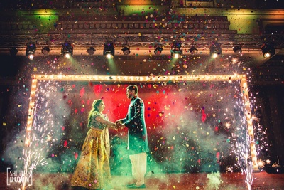 Gorgeous sangeet decor for the bride and groom's first dance