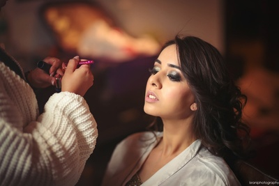 The bride getting ready for her sangeet