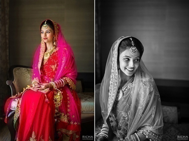 Red Saree with a Fuschia Bridal Dupatta