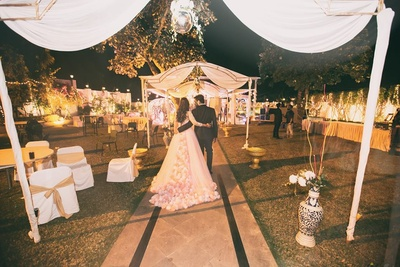 Yellow and white decor for the engagement ceremony.
