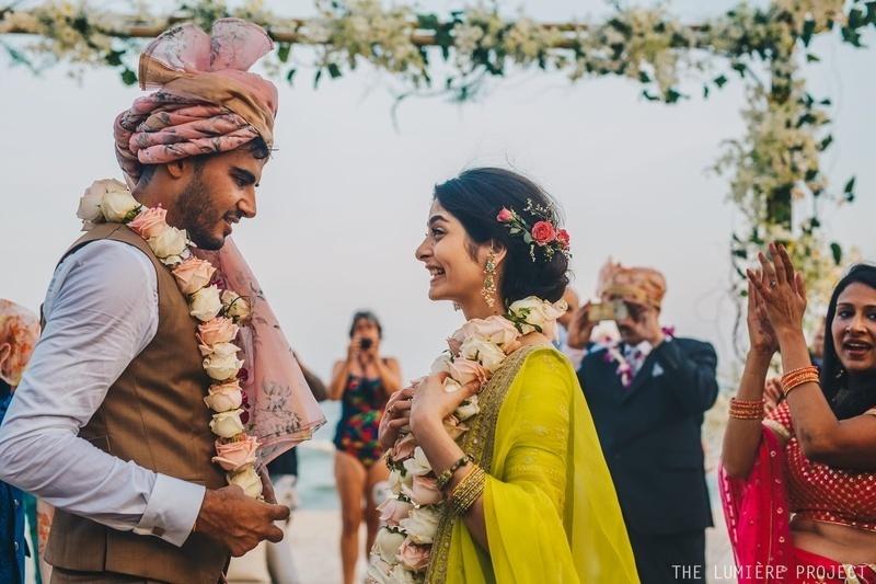 Varmaala or Jaimala is an occasion where bride and groom exchange garlands.