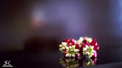 Close-up of the floral accessory made with mogra and rose petals