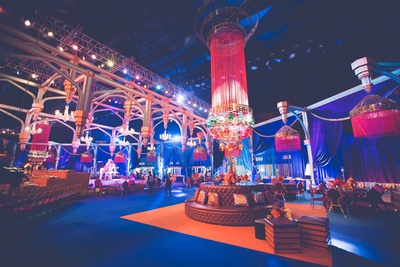 Elegant and colorful decor for the indoor wedding  at NSCI, Mumbai