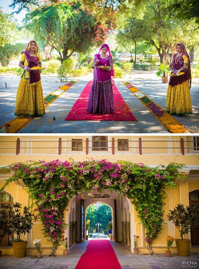 Samode Palace, Jaipur welcoming the guests in traditional Rajasthani style