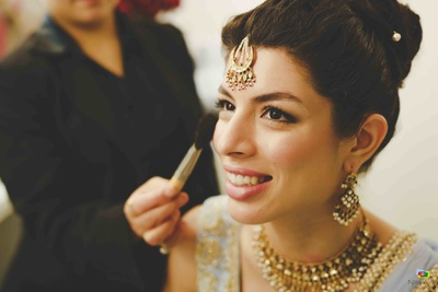 Bride getting ready before the wedding function