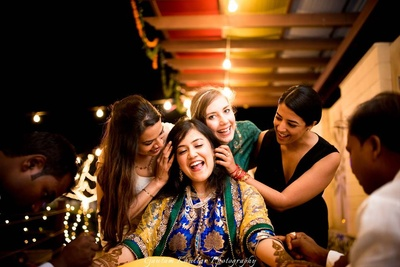 A very beautiful bride and bridesmiads picture shot by Gautam Khullar.