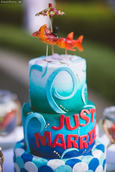 Just Married Cake for the Just Married Pool Party held at Angsana Oasis Resort and Spa.