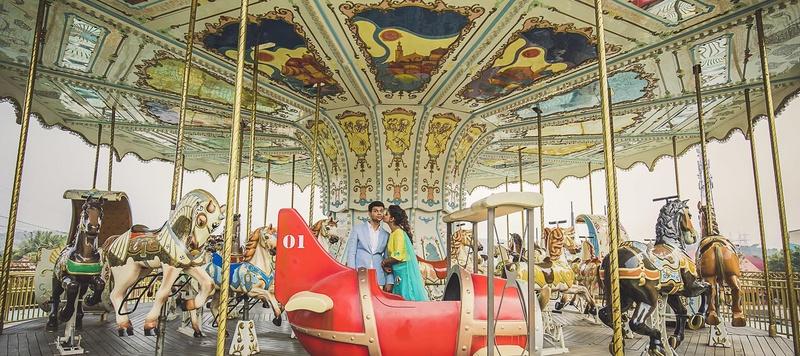 Aradhya & Shradha Lonavala : Adlabs Imagica Lonavala Destination Wedding with an offbeat pre-wedding shoot