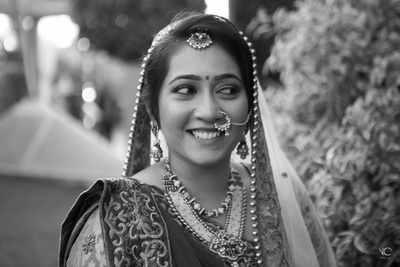 Bridal portrait shot in black and white