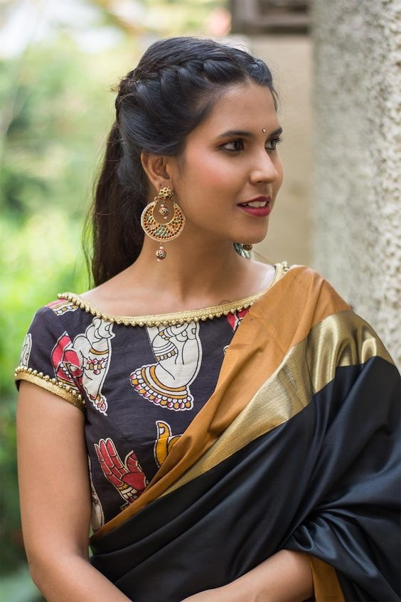 657c0ea1b Don t you love it when a simply printed cotton blouse like this one  transforms itself into the most gorgeous silk saree blouse design just by  sheer styling ...