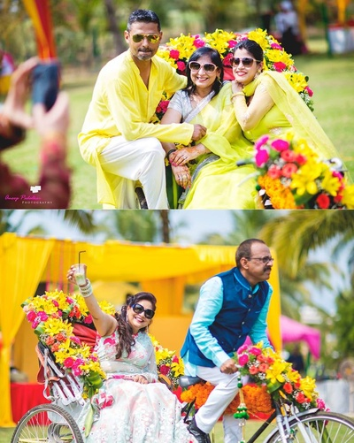 Vibrant, floral decor on rickshaw used as fun props!