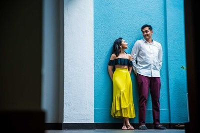 Bride and groom pose during their pre wedding shoot in Goa