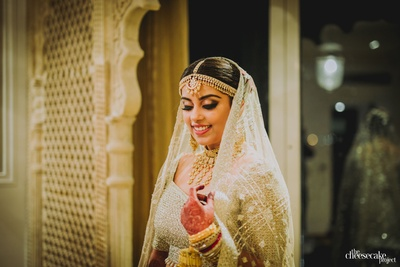 a side portrait of the beautiful bride