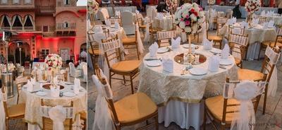Elegant white themed table decor for the wedding