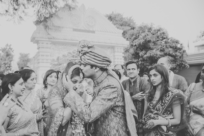 Black and white candid wedding photography.