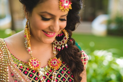 Vibrant and colorful gota patti floral jewellery.
