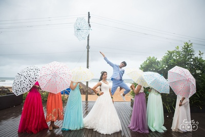 Quirky post wedding photoshoot with the bride and her bridesmaids