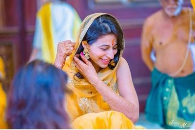 The beautiful bride gets ready for her haldi function at Indana Palace, Jodhpur